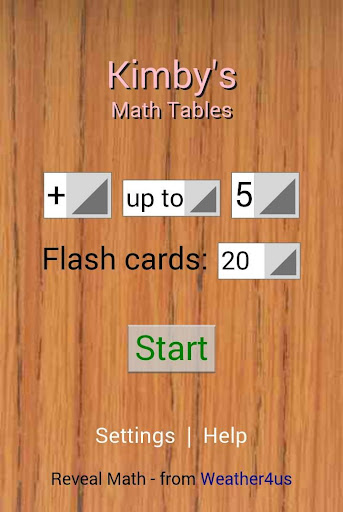 Reveal Math Tables