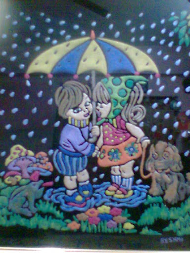 Emboss Painting-Love in the Rain