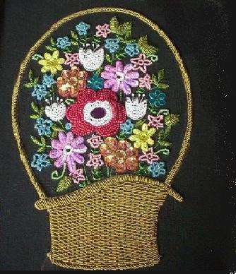 Bead Work-Basket of Flowers