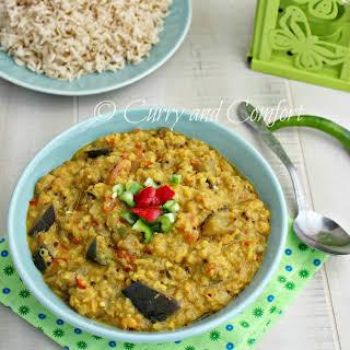 Eggplant and Lentil Curry (Vegan).