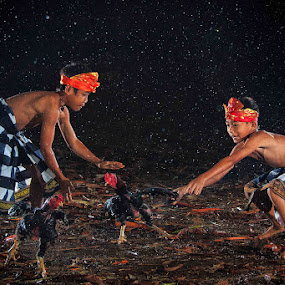 Chasing My Roosters on the Rain by Andreas Sugiarto - Babies & Children Child Portraits