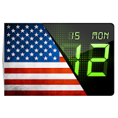 USA flag. Digital clock.
