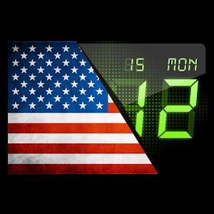 USA flag. Digital clock.