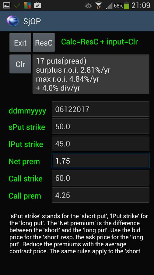 Stock put options calculator