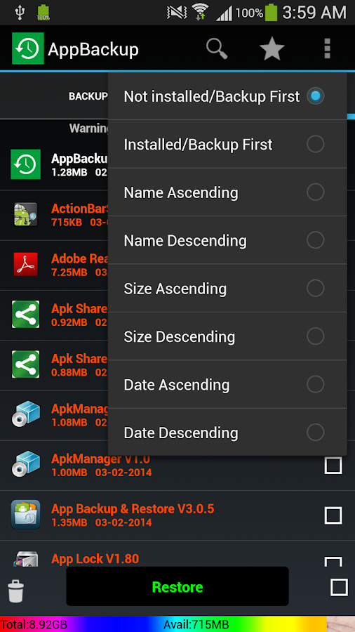 Ebackup-App backup and Restore - screenshot