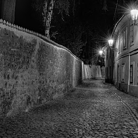 Nový Svět in night by Jan Stupka - City,  Street & Park  Historic Districts ( shades, night lights, street, czech, old town, historic district, praha, b/w, old street, czech republic, night, town, prague, night shot )