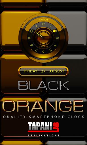 黒オレンジ時計アナログ