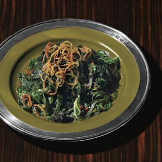 Skillet Greens with Crispy Shallots and Cider Gastrique