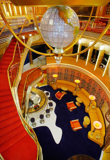 Holland-America-Oosterdam-Atrium - The centerpiece of Holland America Line's Oosterdam is a Waterford crystal globe, prominently displayed in a three-story atrium.