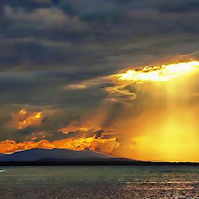 Sunset by Chris KIELY - Landscapes Sunsets & Sunrises ( water, clouds, orange, sky, sunset, beach, landscape, storm,  )