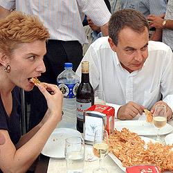 Zapatero y Sonso poniéndose ciegos de marisco
