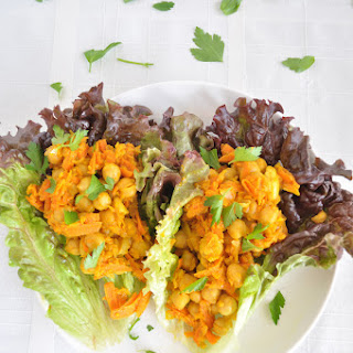 Chickpea Curry Lettuce Wraps.