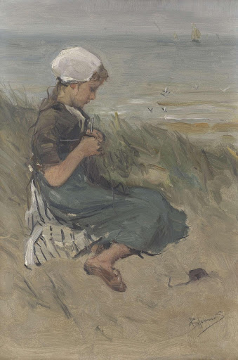 Girl Knitting in the Dunes