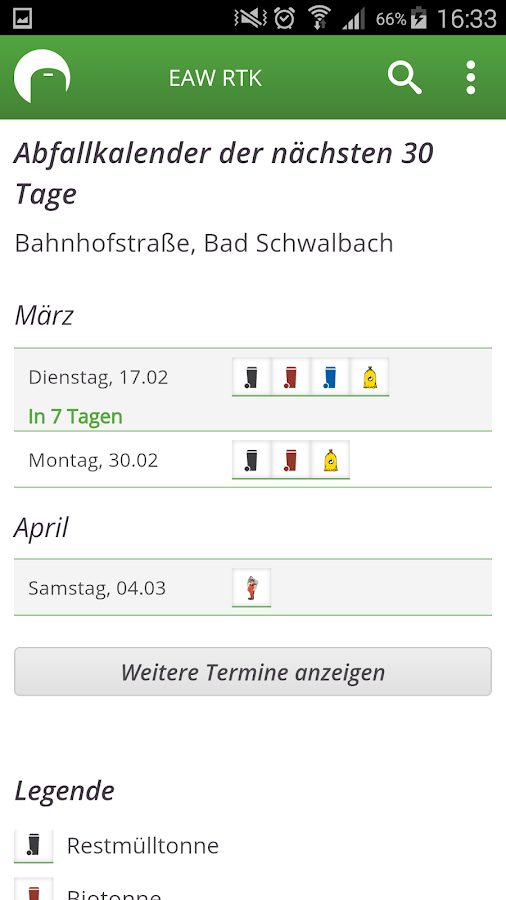 EAW Kalender- screenshot
