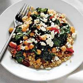 Couscous with Swiss Chard, Raisins and Feta.