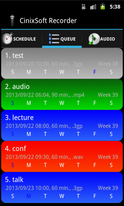 Schedule Voice Recorder- screenshot