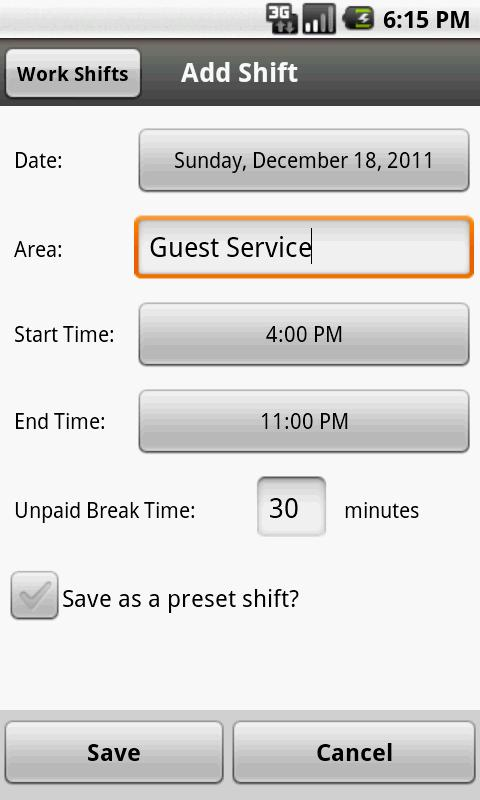 Work Shifts Free - screenshot