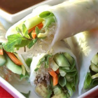 Fresh Spring Rolls with Wasabi Ginger Dipping Sauce.