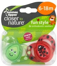 Tommee Tippee Closer to Nature Fun Style Orthodontic Soothers - 6-18M, x2
