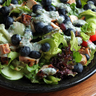 Blueberry Chicken Salad with Cheesy Herb Dressing