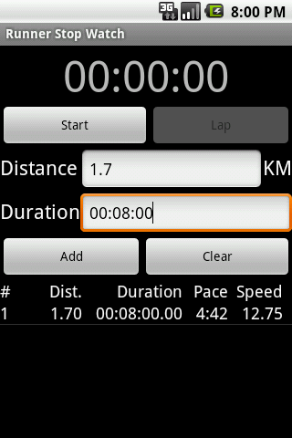 Runner Stop Watch - screenshot