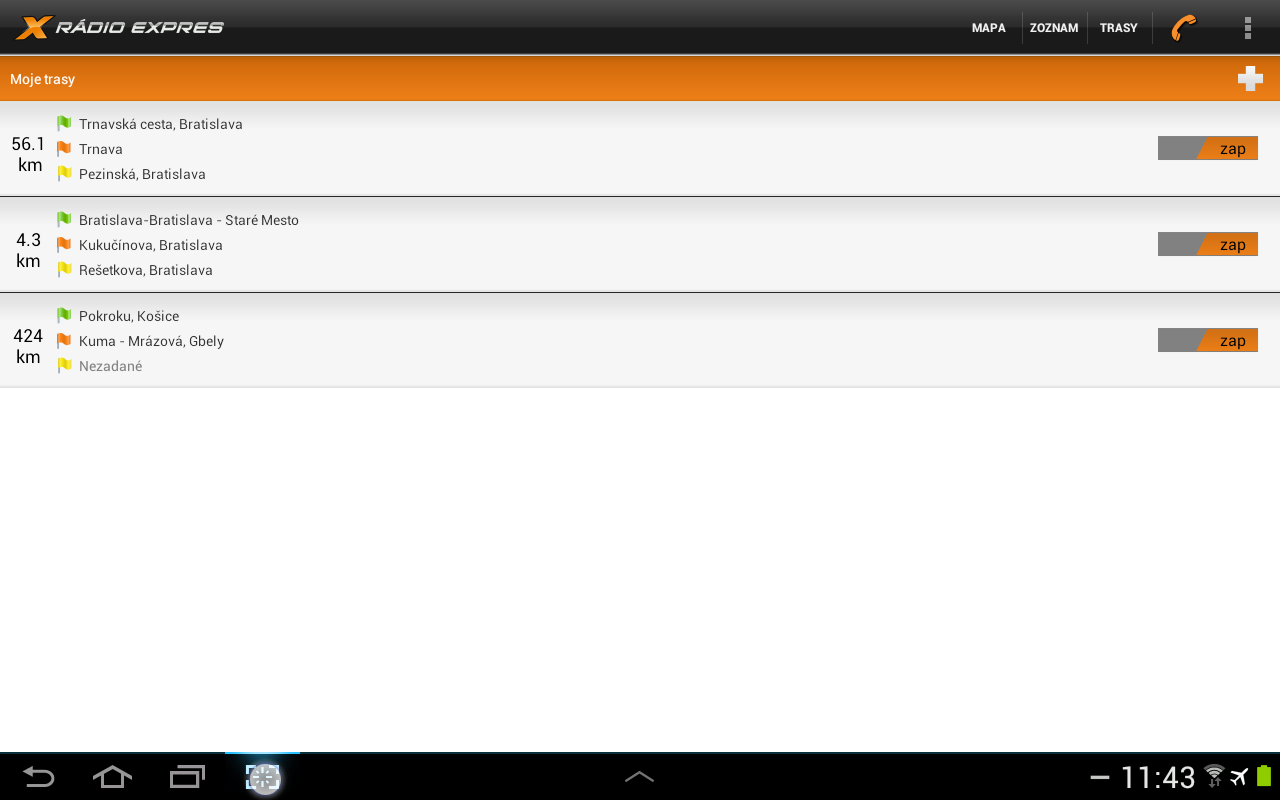 Dopravný servis Rádia Expres - screenshot