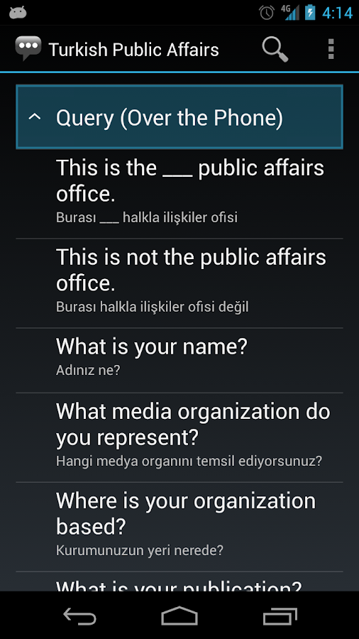 Turkish Public Affairs Phrases - screenshot