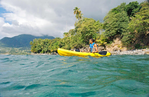 kayak-dominica - Kayaking on the little Caribbean island nation of Dominica.