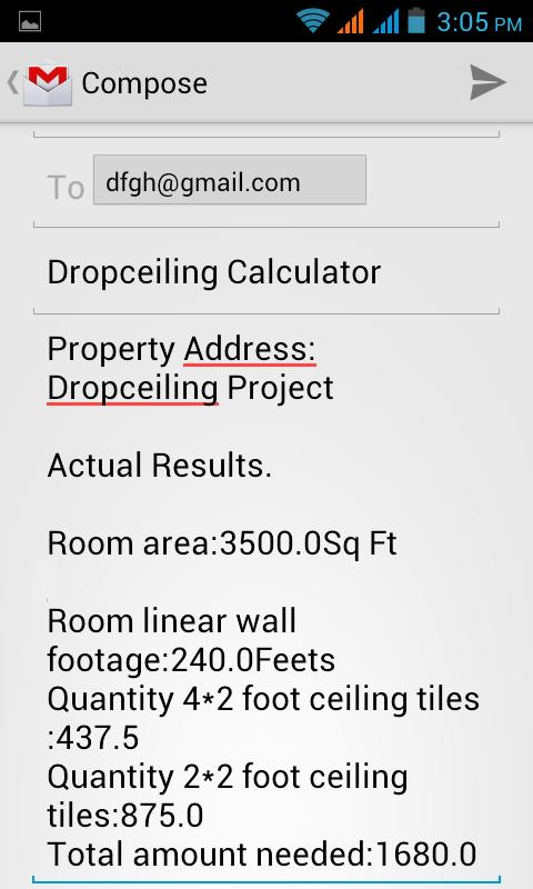 DropCeiling Calculator- screenshot