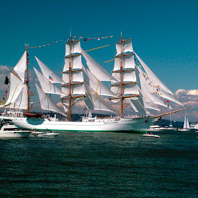 Cuauhtemoc by Pete Bobb - Transportation Boats ( cuauhtemoc, puget sound, tall ships, sail, commencement bay, mexican navy,  )