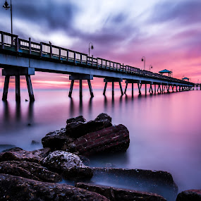 Daybreak by Givanni Mikel - Buildings & Architecture Bridges & Suspended Structures ( magenta, pier, ocean, sunrise, rocks,  )