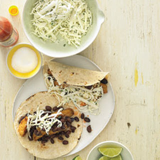 Fish Tacos with Cabbage, Jicama, and Black Beans.