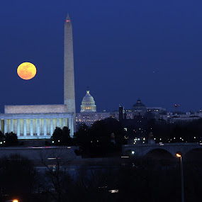 Moon Over DC by Eddie Jeffries - City,  Street & Park  Skylines ( moonrise,  )