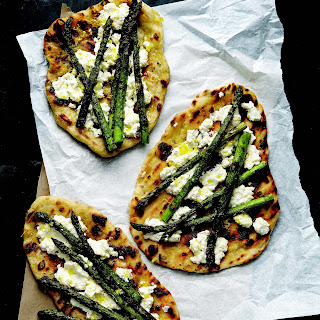 Grilled Asparagus and Ricotta Pizzas.