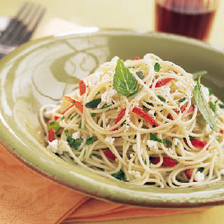 Mixed-Herb Pasta with Red Bell Peppers and Feta