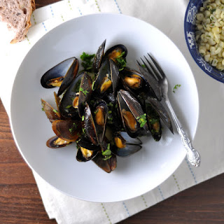 Baked Mussels with Cilantro Butter.