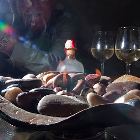 Playing with Light by Jeri Curley - Abstract Fire & Fireworks ( wine, lighting, still life, stones, fire )