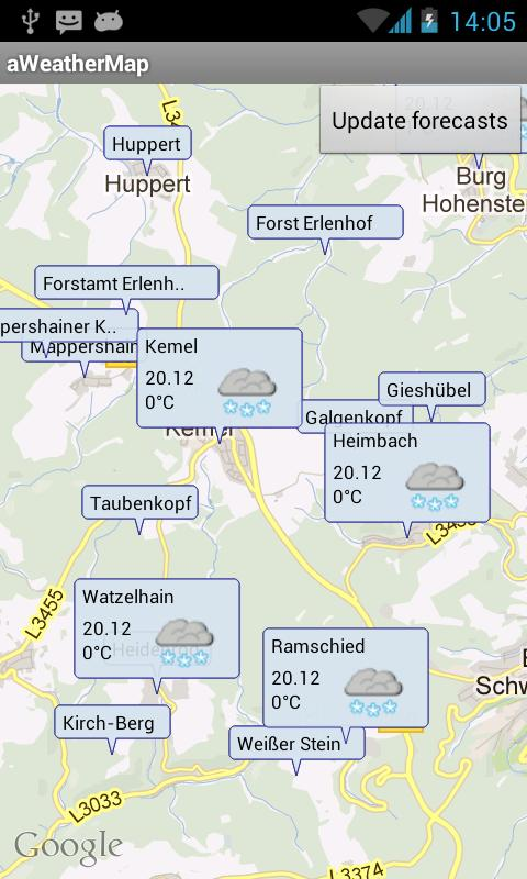 aWeatherMap - screenshot