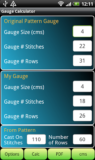 Knitting Gauge Calculator