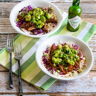 Slow Cooker Green Chile Shredded Beef Cabbage Bowl with Avocado Salsa
