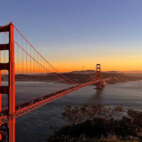 The Golden Gate by Tyler Landgraf - Buildings & Architecture Bridges & Suspended Structures ( sky, bay, california, sunset, ocean, bridge, golden gate, san francisco, golden )