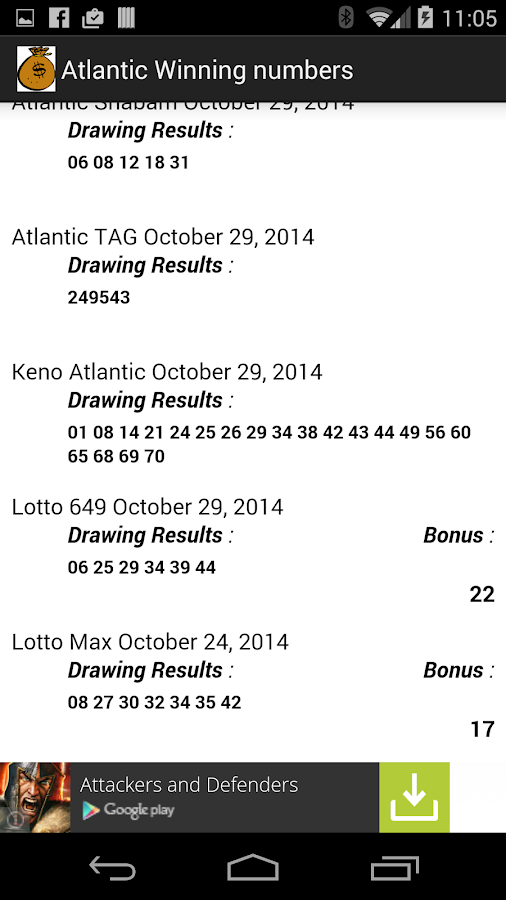 Atlantic Lotto Results