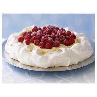 Creamy Vanilla Raspberry Pavlova.