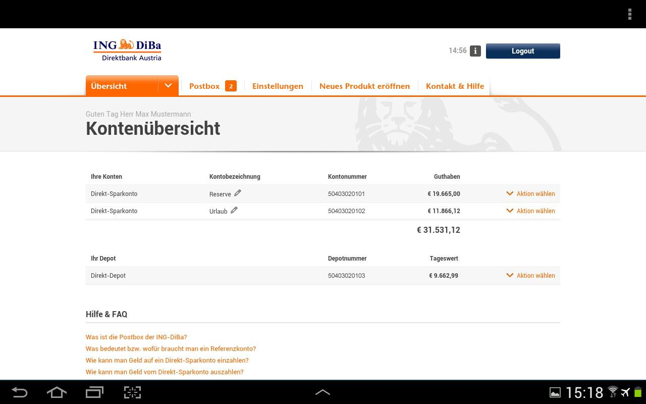 Ing Diba Online Banking Demo