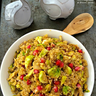 Quinoa with Pomegranate and Brussels Sprouts.