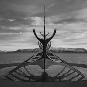 Icelandic boat by Karen Shivas - Black & White Landscapes