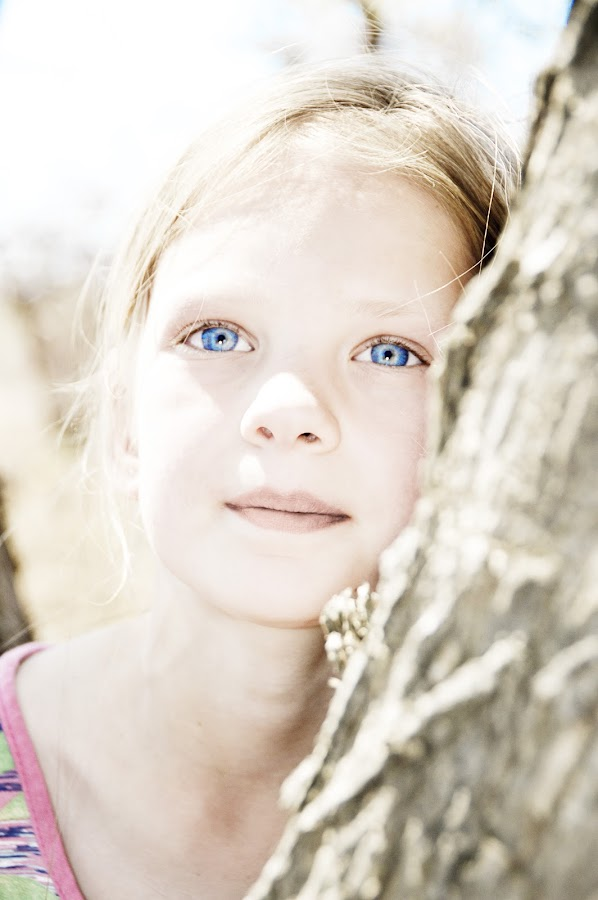 Lost in the Blue by Jacques Prinsloo - Babies & Children Child Portraits ( high key, girl, blue, blue eyes, portrait,  )