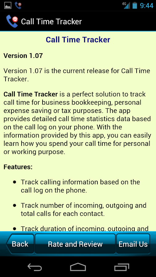 Call Time Tracker+Call Blocker- screenshot