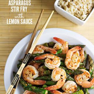 Shrimp and Asparagus Stir Fry with Lemon Sauce.