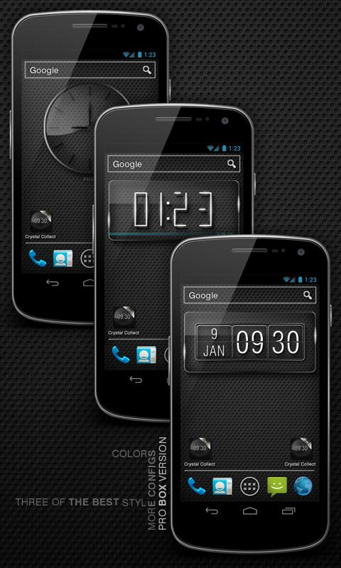 Glass clock. widget. BOX. PRO - screenshot